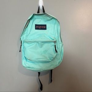 Jansport Mint Color Backpack with Gray Zippers